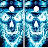 Avery Dennison C27 Flaming Skull CORNHOLE LAMINATED DECAL WRAP SET Decals Board Boards Vinyl Sticker Stickers Bean Bag Game Wraps Vinyl Graphic Tint Image Corn Hole