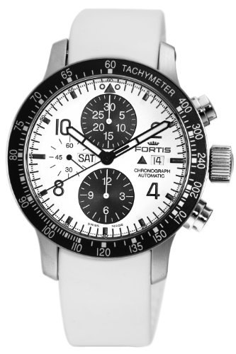 Fortis Men's 665.10.12SI.02 B-42 Stratoliner Automatic Chronograph White Dial Watch