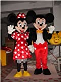 Cartoon Character Mickey and Minnie Mouse Couple Mascot Adult Costume