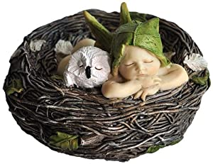 Top Collection Miniature Fairy Garden and Terrarium Sleeping Fairy Baby with Owl in Nest Statue by Top Land Trading Inc.