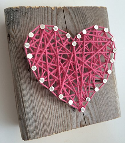 Rustic string art hot pink heart block - A unique gift for Weddings, Anniversaries, Birthdays, Christmas, Valentine's Day, new baby girls and just because.