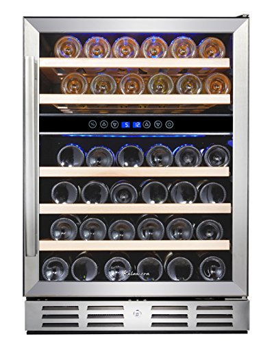 Buy Bargain Kalamera 24'' Wine refrigerator 46 Bottle Built-in or Freestanding with Stainless Steel ...