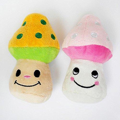 Bild von: TopTops® Farbe Pilze Rosa Und Gelb Squeaky Plüsch Haustier Spielzeug Für Katze Und Hund (Farben können variieren)