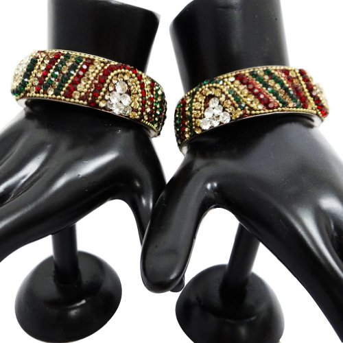 2 Pcs Indian CZ Stone Wide Bridal Bangle Kada
