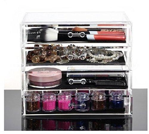 Feibrand Organiser per Cosmetici in Acrilico con 4 Cassetti e un Ampi Spazio Trasparente