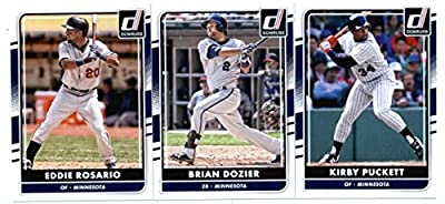2016 Donruss Baseball Minnesota Twins Team Set of 3 Cards: Eddie Rosario(#113), Brian Dozier(#115), Kirby Puckett(#178) in Protective Snap Case