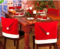 king's store,Christmas chair cover,Santa Claus Hat Christmas Chair Covers, Red, 4 pcs?Free of charge 2 Christmas hat?