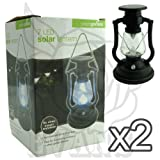 New 7 LED Black Solar Garden Lantern - 18 cm Tall - Completely powered by sun - Install anywhere - Weatherproof (Pack of 2)
