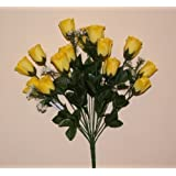 18 head YELLOW rose buds artificial flower bush weddings/graves