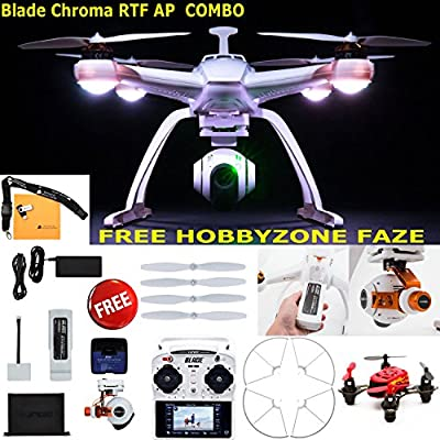Blade Chroma Flight-Ready Drone with C-GO2+ 16 MP 1080p/60 3-Axis Stabilized Camera, ST-10+ Transmitter, FAZE Mini Quadcopter RTF, and Prop Guard