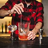 Bartender Soul Cocktails Essential Tool Set w/ Professional Weighted 12'' Bar Spoon, Wooden 10'' Muddler, 2 Pourers & Ice Tongs. Recipes Pocket Book Included. Premium Complement for Shakers.