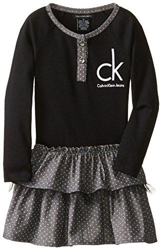 Calvin Klein Little Girls' Logo Tiered Dress, Black, 4T