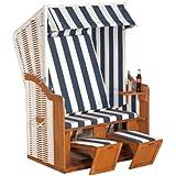 Dreams4Home Gartenstrandkorb ' Jule ', 120x160x80 cm, in Weiß-Blau,Strandkorb