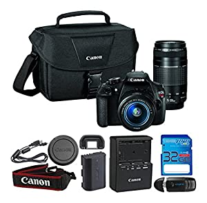 Canon EOS Rebel T5 Digital SLR Camera with EF-S 18-55mm IS II + EF 75-300mm f/4-5.6 III Bundle Includes I3ePro 32GB SDHC Memory Card & I3ePro USB 2.0 Card Reader