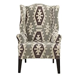 Sure Fit Stretch Kilim - Wing Chair Slipcover  - Gray (SF45198)