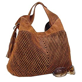 Light Cinnamon Cognac Vintage Woven Suede Lk Hobo Handbag