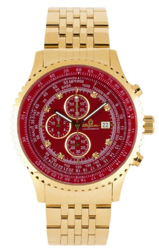 Burgmeister Savannah Bm320-249 Gents Chronograph  Gold Red Dial Chrystals Date Day Month