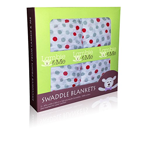 Cheapest Prices! Baby Swaddle Blankets | Organic Muslin Cotton | Best Unisex Shower Gift | Dots, 2 C...