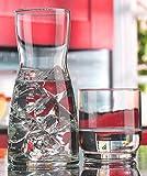 Palais Glass Carafe Set - Bedside Night Carafe 17 Oz with Tumbler Glass 10 Oz