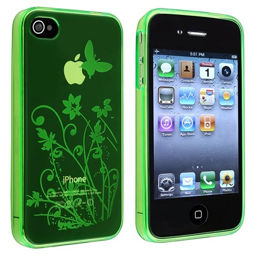 eForCity TPU Rubber Skin Case compatible with Apple® iPhone® 4 / 4S, Clear Green Flower with Butterfly