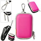 New first2savvv outdoor heavy duty pink camera case for NIKON COOLPIX S02 with black camera hand strap