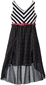 Rare Editions Girls 7-16 Stripe Knit Bodice To Dot Chiffon High-Low Dress by Rare Editions