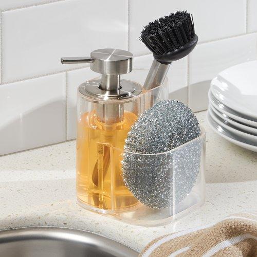 Interdesign Midi Kitchen Soap Dispenser Sponge And Scrubby Brush Caddy Organizer Clear Brushed