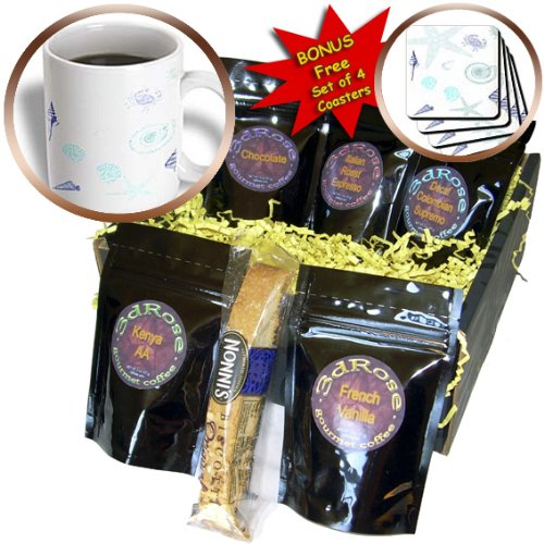cgb_174692_1 Florene - Beach And Sunset Art - image of painted underwater starfish shells and crab in aqua and blue - Coffee Gift Baskets - Coffee Gift Basket