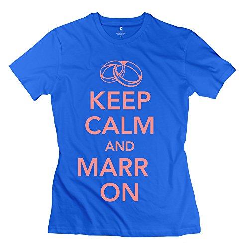 Woman Keep Calm Marry Two Rings T-Shirts - Nice Custom Royalblue T-Shirt