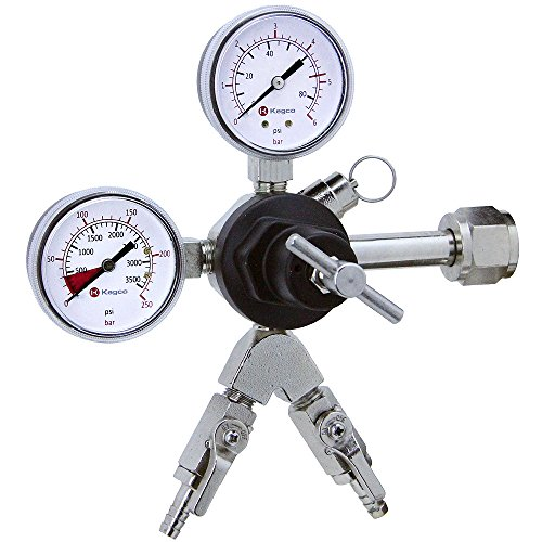 Kegco 762-2 - Commercial Grade Double Gauge Two Product Regulator (Co2 Regulator Shut Off Valve compare prices)