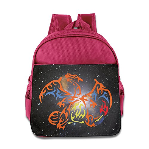 [HighKey Kids Pocket Monster Charizard School Backpacks/Bags Pink] (Old Ash Ketchum Costume)