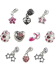 Set Of 10 Pink Mother Charms & Beads, Mom Charm, Heart Charm, Shoe Charm, Butterfly Charm