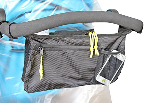 Keeplin (Tm) Premium Stroller Organizer Bag, Black - Fits the Handles of Most Stroller Models - Use It for Diapering Supplies, Bottles, Snacks Toys and More
