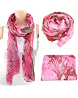 chinkyboo Graceful Long Plain Ladies Scarf Chiffon - 5 Colours to Choose From (Pink)