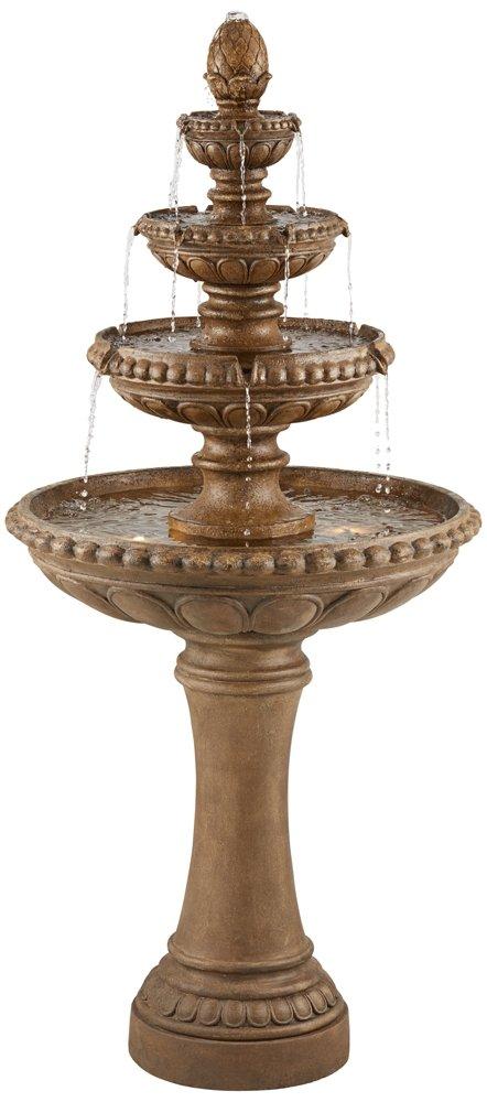 """Sag Harbor 60"""" High Stone 4-Tier LED Outdoor Floor Fountain"""
