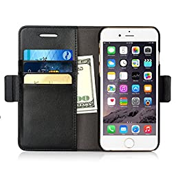 iPhone 6 / 6s Wallet Case, iXCC Detachable Folio Magnetic Cover Case [2 in 1][Stand Feature] with Premium Leather and Credit Card Slots - Black