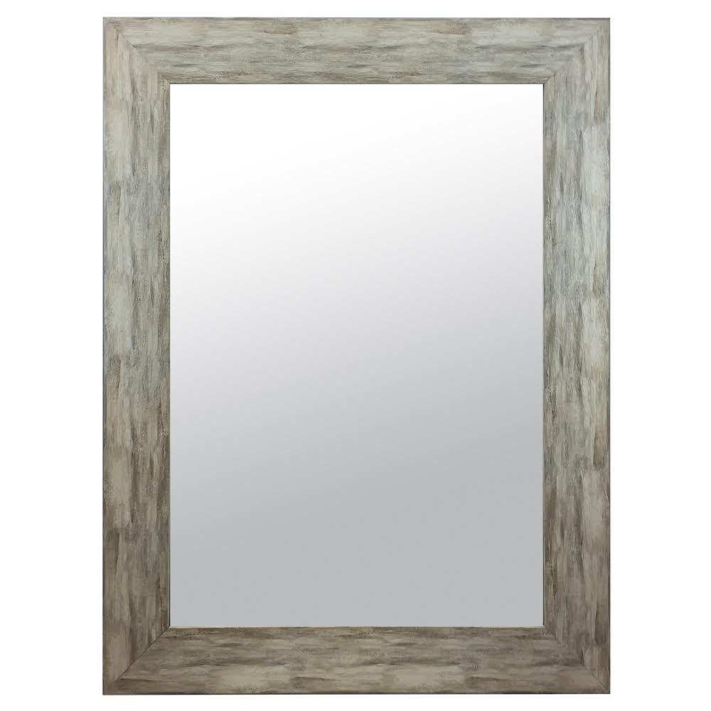 Raphael Rozen - Modern - Classic - Vintage - Hanging Framed Wall Mounted Mirror, Distressed Wood Finish, Gray - White Color 0