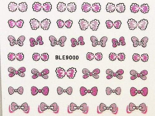 3Dネイルシール ふわふわリボン ピンク&ベビーピンク