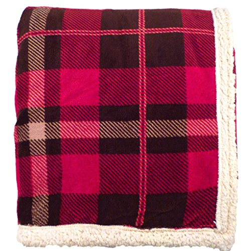 "Simplicity Soft Faux Fur LambsWool Blankets Throw Reversible, 50""x60""_Red Plaid"