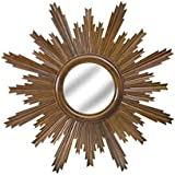 Chisel Arts Mahogany Wood Decorative Sun Mirror Frame For The Wall