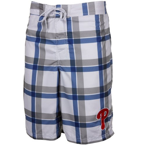 MLB Philadelphia Phillies Plaid Boardshort - White/Royal Blue (XX-Large) at Amazon.com