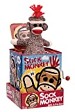"Sock Monkey Jack-In-The-Box is a great addition to every child's toy chest. It is sure to bring a smile to every child's face. The tin box is a little over 5"" tall and has a plush puppet. It plays ""Pop Goes the Weasel"". This box is safe for youngsters as little as 18 months. The graphics on the tin box as very well done, and depicts Sock as a cute, happy monkey. Measures 5.12 x 5.12 x 6.37 Ages over 18 months."
