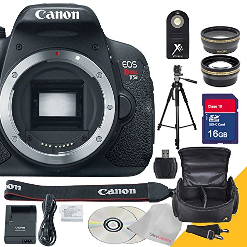 Canon EOS Rebel T5i Body Only with Full Size Professional Tripod , Remote Control, Wide Angle Lens, Telephoto Lens and 16GB SDHC Class 10 High Speed Memory Card with USB SD Card Reader, Camera Case with Rain Protection and 5AveCamera Cloth