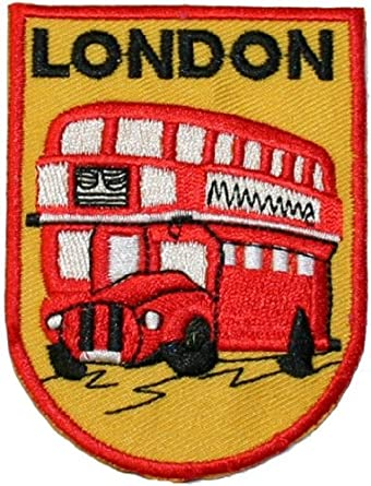 Amazon.com London Double Decker Bus Travel Souvenir Embroidered Iron On Patch