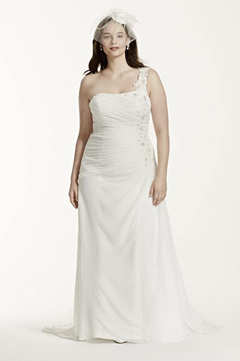 One Shoulder Chiffon Plus Size Wedding Dress Style 9V3398, Soft White, 18W