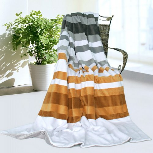 Onitiva - [Stripes - City Elf] Soft Coral Fleece Patchwork Throw Blanket (59 By 78.7 Inches) front-560816