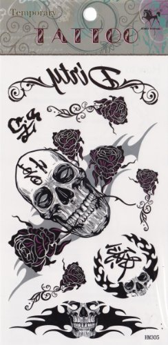 Temporary Tattoo Skulls and Roses and Tribal Tattoo by Temporary Tattoo