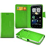 ONX3 (Green) HTC Sensation 4G Super Thin Faux Leather Wallet Flip Suction Pad Skin Case Cover With Credit / Debit Cards Slot