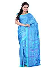 Surat Tex Green & Sky Blue Crepe Daily Wear Printed Sarees With Blouse Piece-E535SE1004CAS