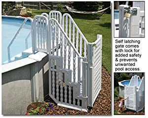 Easy Pool Step Complete Stair Step Entry System with Gate for Above Ground Swimming Pool